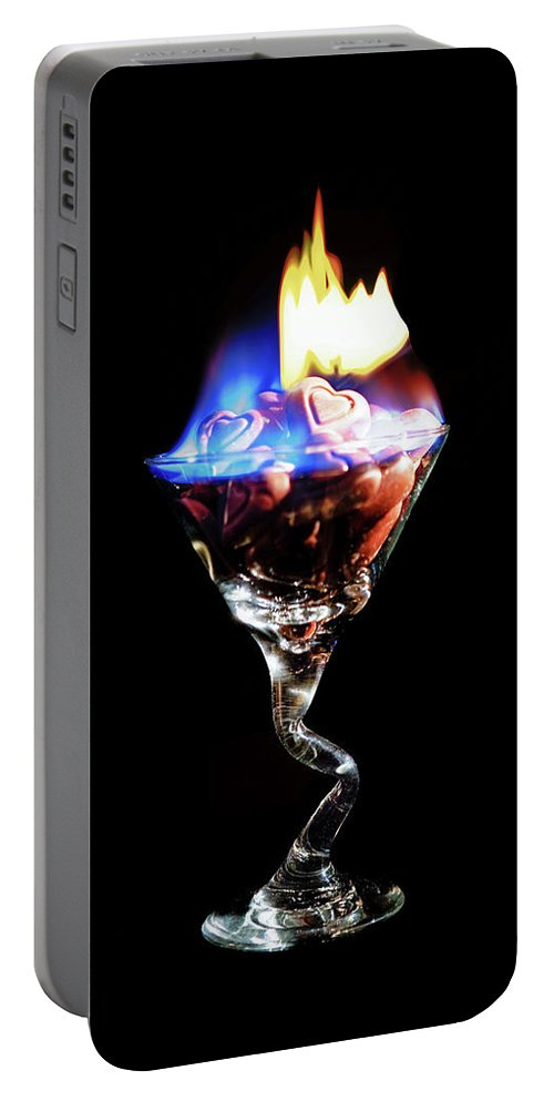 Martini Portable Battery Charger featuring the photograph Hearts On Fire by Scott Campbell
