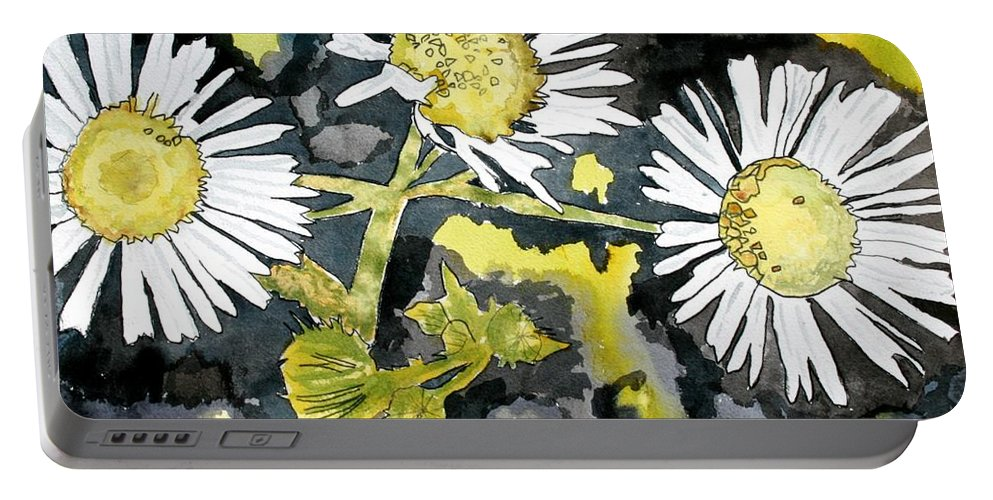 Wildflower Portable Battery Charger featuring the painting Heath Aster Flower Art Print by Derek Mccrea