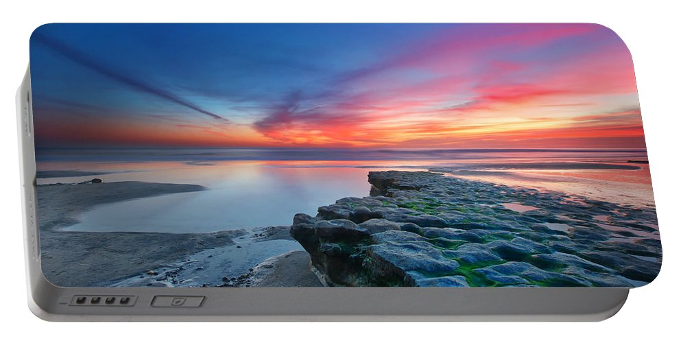 Sunset Portable Battery Charger featuring the photograph Heaven and Earth by Larry Marshall