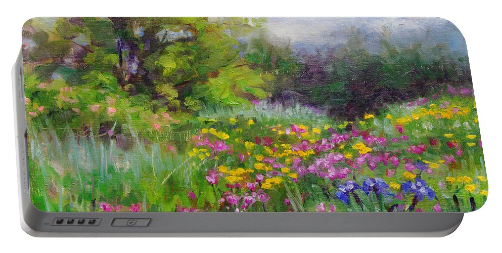 Flower Portable Battery Charger featuring the painting Heaven Can Wait by Talya Johnson