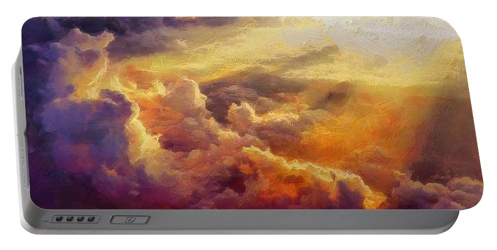 Clouds Portable Battery Charger featuring the painting Heaven by Lelia DeMello