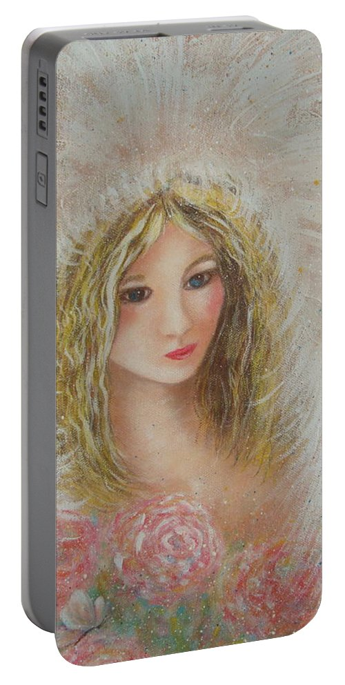 Angel Portable Battery Charger featuring the painting Heavenly Angel by Natalie Holland