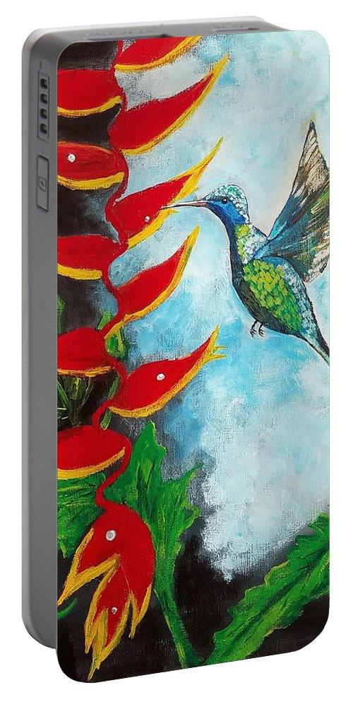 Heliconia Portable Battery Charger featuring the painting Heavenly Heliconia by Deepa Sahoo