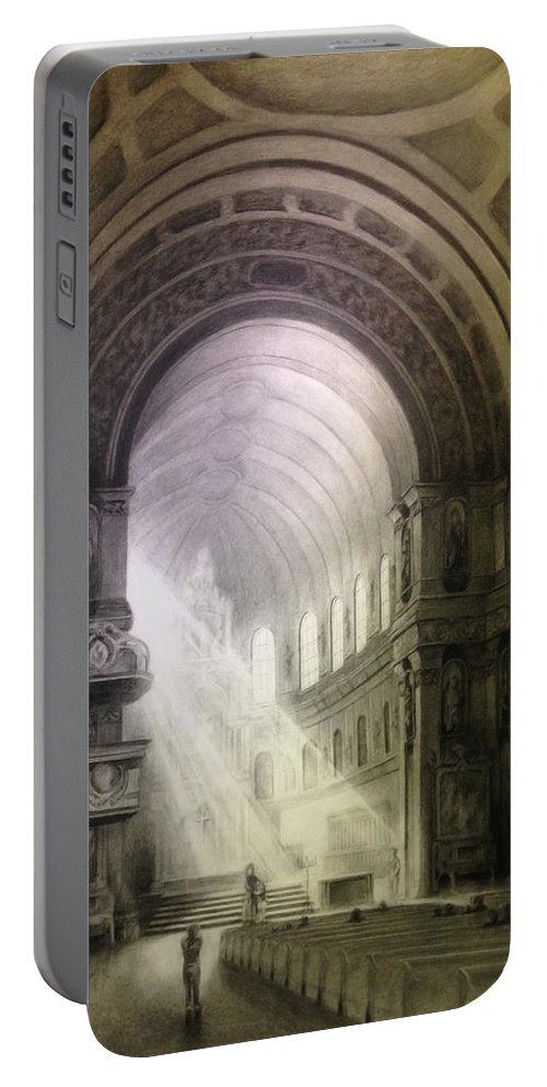 Cathedral Portable Battery Charger featuring the drawing Heavenly Light by E W Carlson