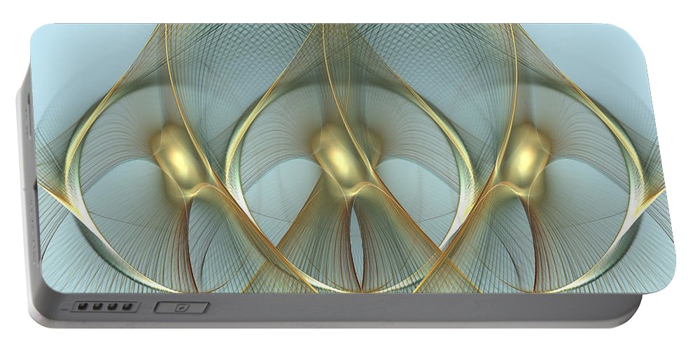 Wings Portable Battery Charger featuring the digital art Heavenly Wings Of Gold by Georgiana Romanovna