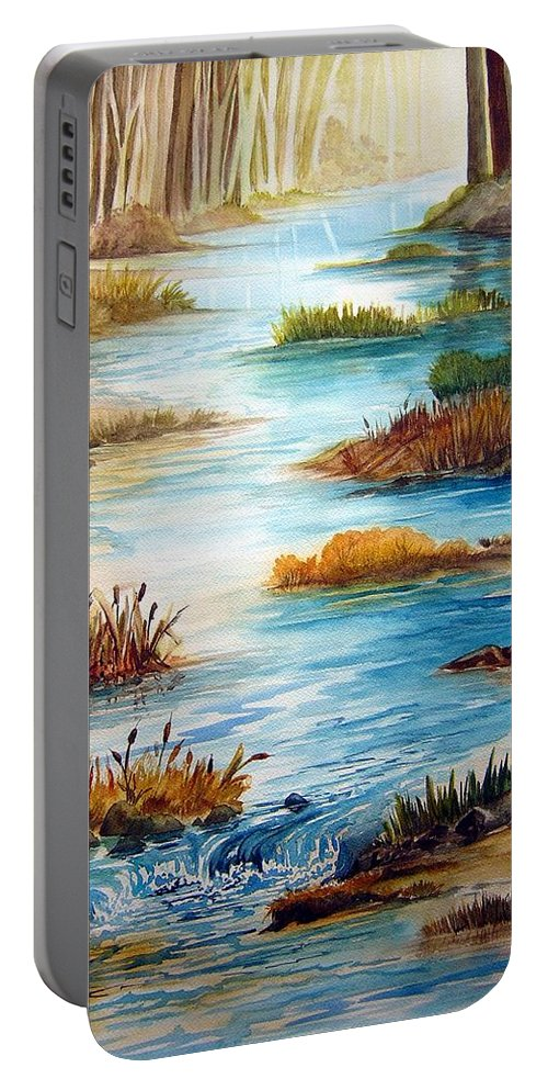 Heavens Gift Water Trees Landscape Portable Battery Charger featuring the painting Heavens Gift by Joanne Smoley