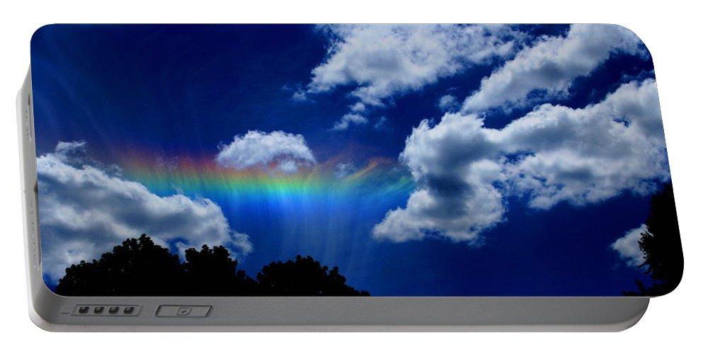 Heavens Rainbow Portable Battery Charger featuring the photograph Heavens Rainbow by Linda Sannuti