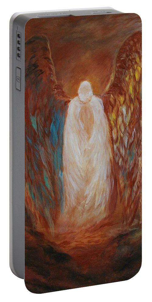 Angel Painting Portable Battery Charger featuring the painting Heavens Watch by Leslie Allen