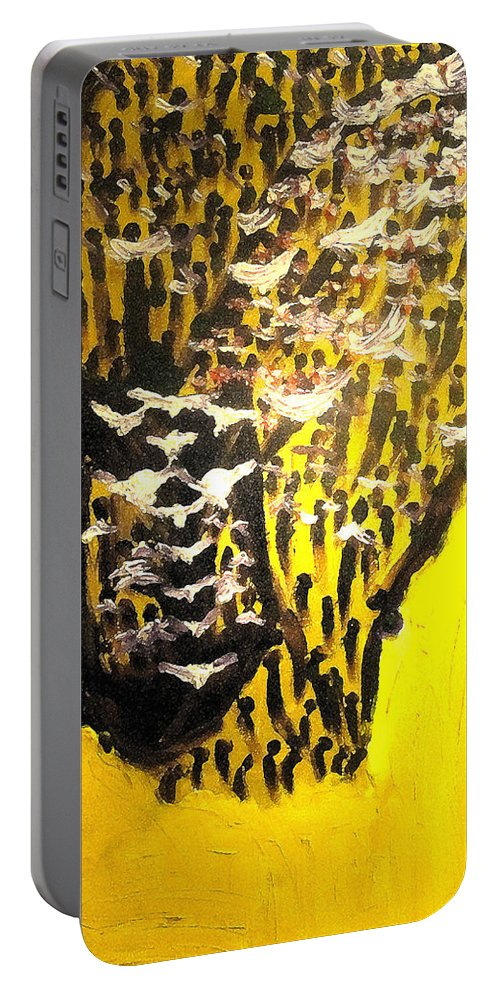 Gods Desires Paintingjesus Portable Battery Charger featuring the painting Heavenward by Gloria Ssali