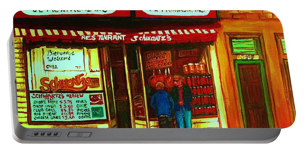 Schwartzs Portable Battery Charger featuring the painting Hebrew Delicatessen by Carole Spandau