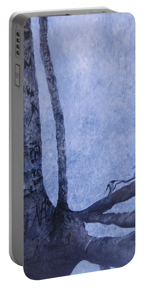 Tree Trunk Portable Battery Charger featuring the painting Hedden Park II by Leah Tomaino