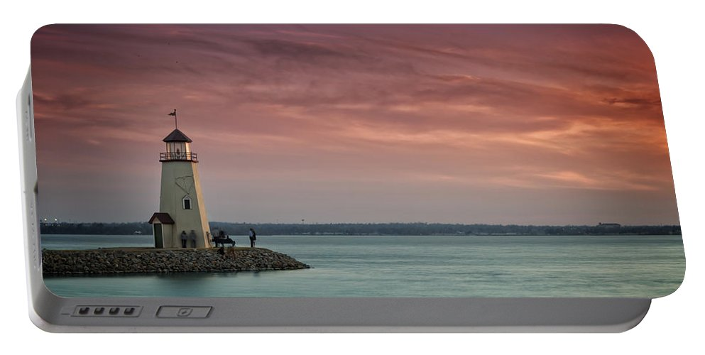 Lighthouse Portable Battery Charger featuring the photograph Hefner Sunset II by Ricky Barnard