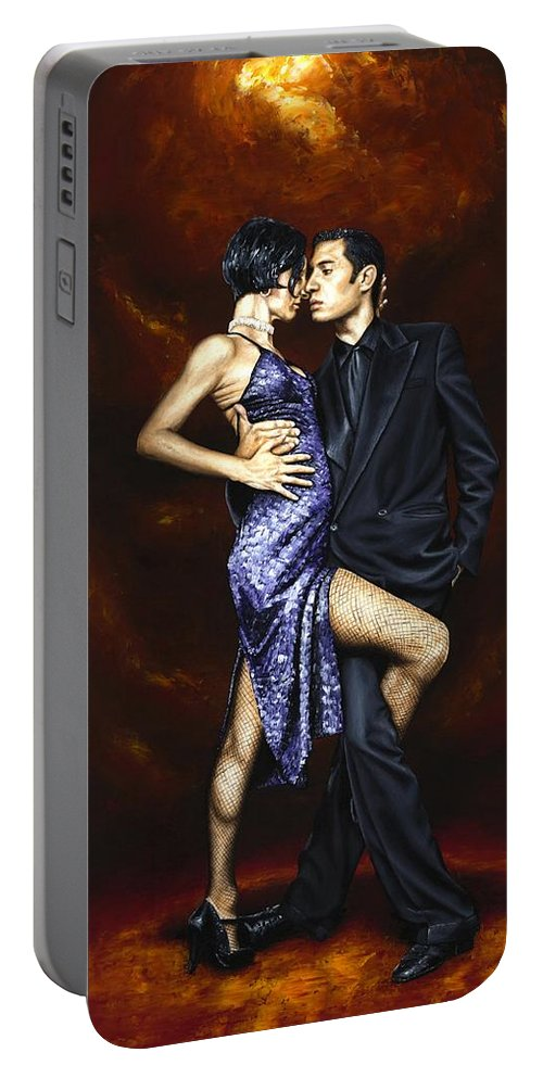 Tango Dancers Love Passion Female Male Woman Man Dance Portable Battery Charger featuring the painting Held In Tango by Richard Young