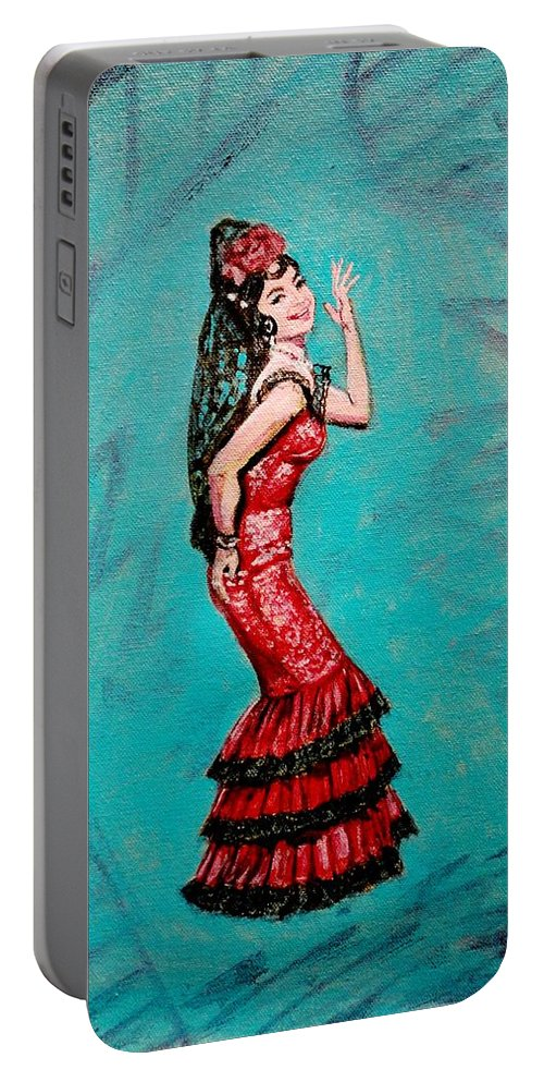 Bollywood Portable Battery Charger featuring the painting Helen In Teesri Manzil by Usha Shantharam
