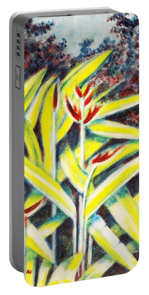 Heliconia Portable Battery Charger featuring the painting Heliconia 2 by Usha Shantharam