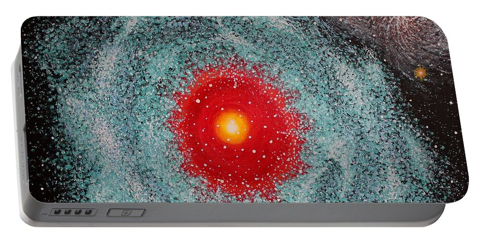 Outer Space Nebula Portable Battery Charger featuring the painting Helix Nebula by Georgeta Blanaru