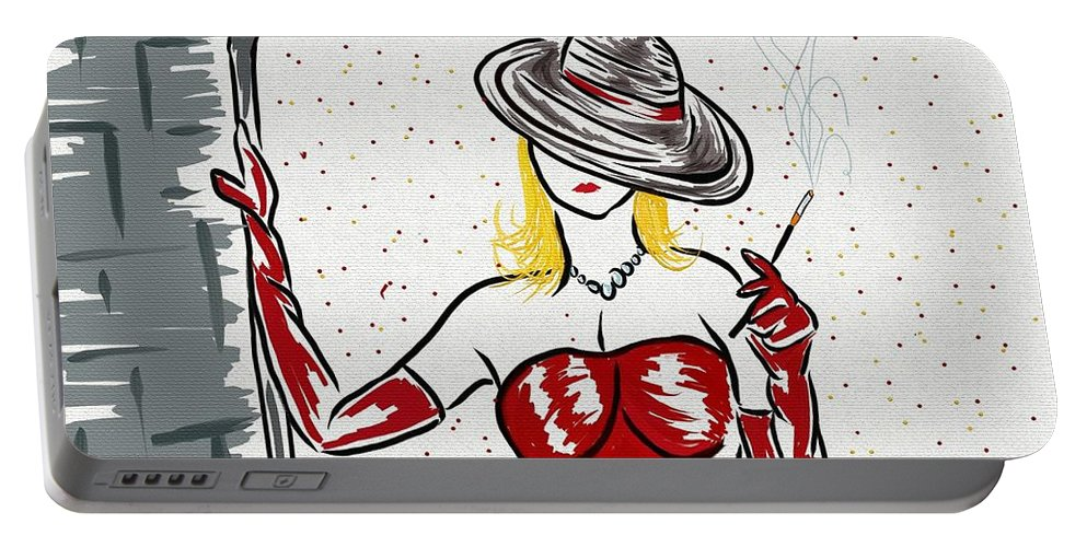 Red Portable Battery Charger featuring the painting Hello There by Barbara Stanley
