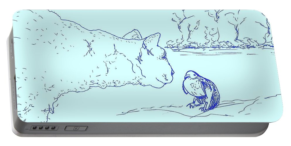 Cat Portable Battery Charger featuring the drawing Hello Birdie by Denise Fulmer