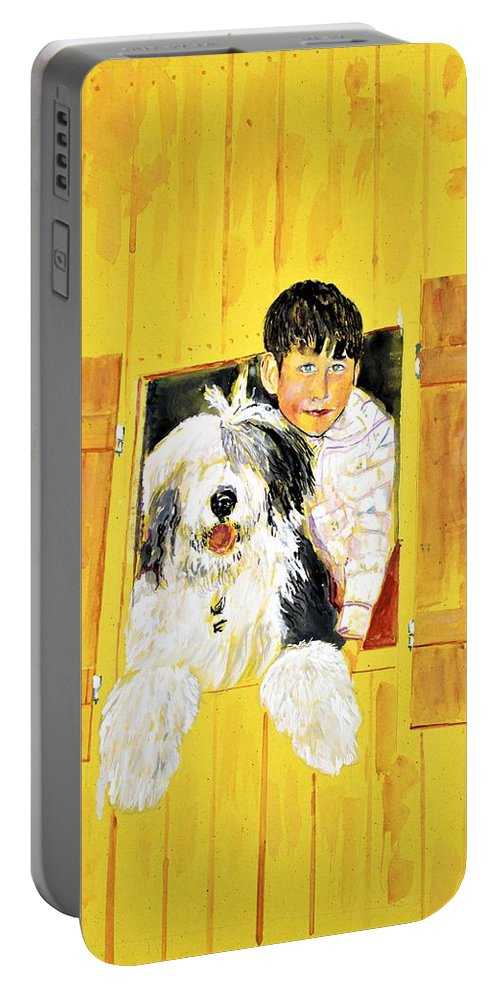 Dog Portable Battery Charger featuring the painting Hello Friends, We Are Here by Khalid Saeed