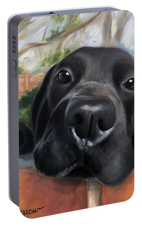 Black Lab Portable Battery Charger featuring the painting Hello by Mary Sparrow