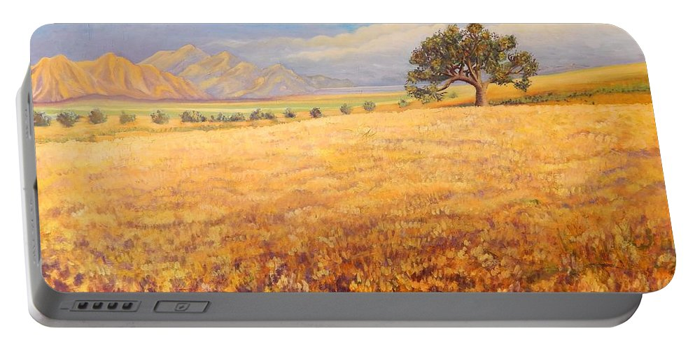 Landscape Portable Battery Charger featuring the painting Hello Namibia by Caroline Street