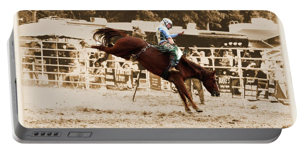 Sepia Portable Battery Charger featuring the photograph Helluva Rodeo-the Ride 4 by September Stone