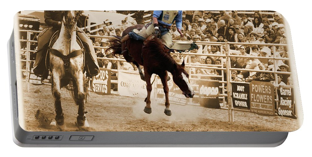Sepia Portable Battery Charger featuring the photograph Helluva Rodeo-the Ride 5 by September Stone