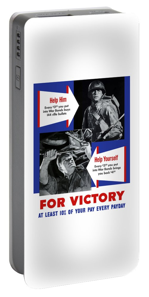 World War Ii Portable Battery Charger featuring the painting Help Him Help Yourself by War Is Hell Store
