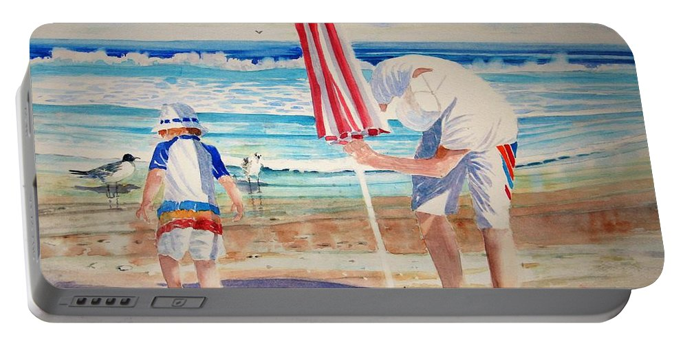 Beach Portable Battery Charger featuring the painting Helping Dad Set Up the Camp by Tom Harris