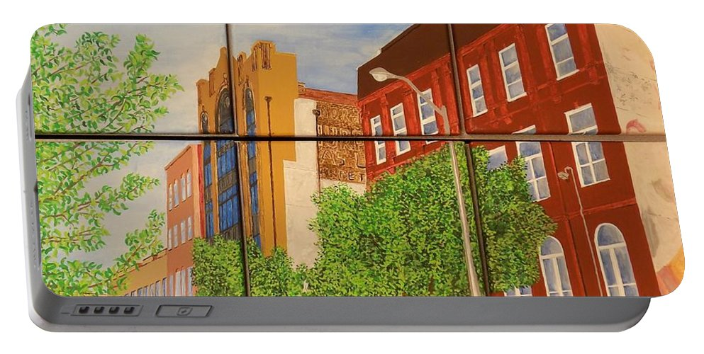 Street Portable Battery Charger featuring the painting Helping Up Mission by Paul Bashore