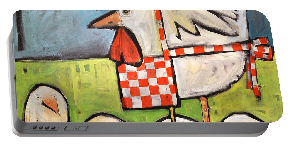 Chicks Portable Battery Charger featuring the painting Hen And Chicks After Storm by Tim Nyberg