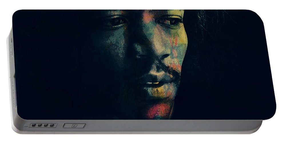 Jimi Hendrix Portable Battery Charger featuring the digital art Hendrix by Paul Lovering