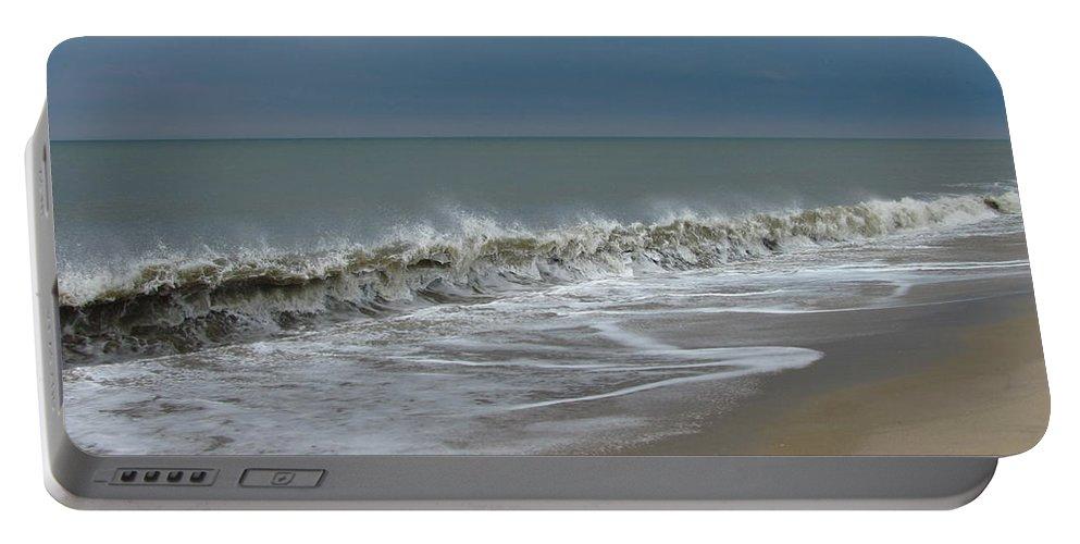 Ocean Wave Storm Seascape Coast Beach Shore Photographs Canvas Prints Portable Battery Charger featuring the photograph Henlopen Shore by Joshua Bales