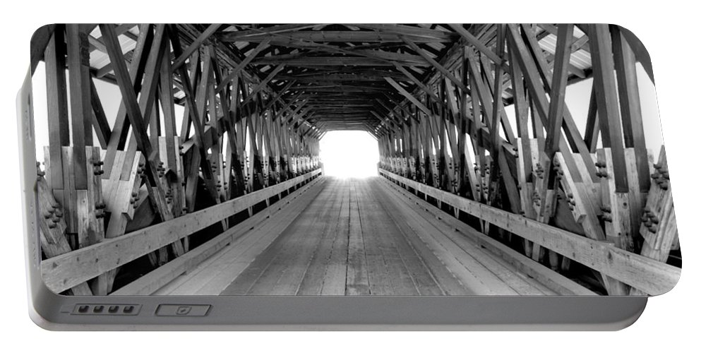 Henniker Portable Battery Charger featuring the photograph Henniker Covered Bridge by Greg Fortier