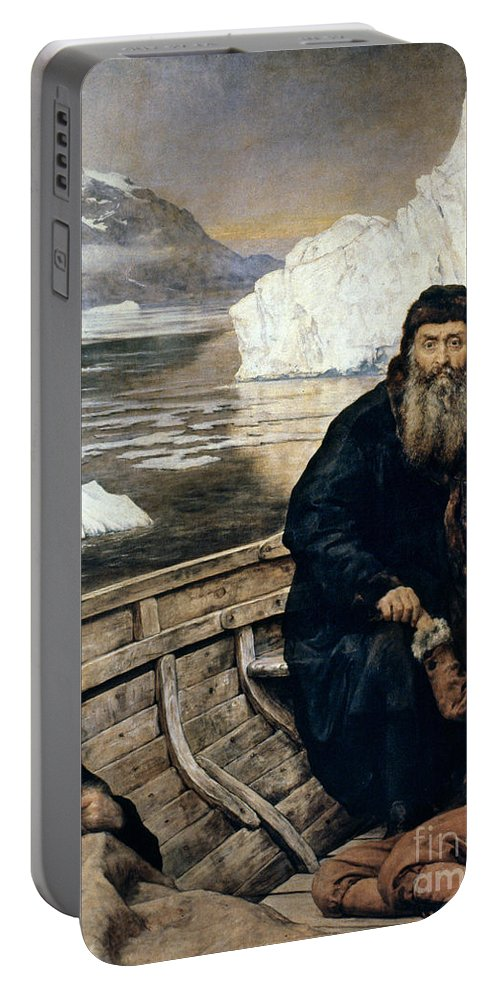 1611 Portable Battery Charger featuring the painting Henry Hudson And Son by Granger