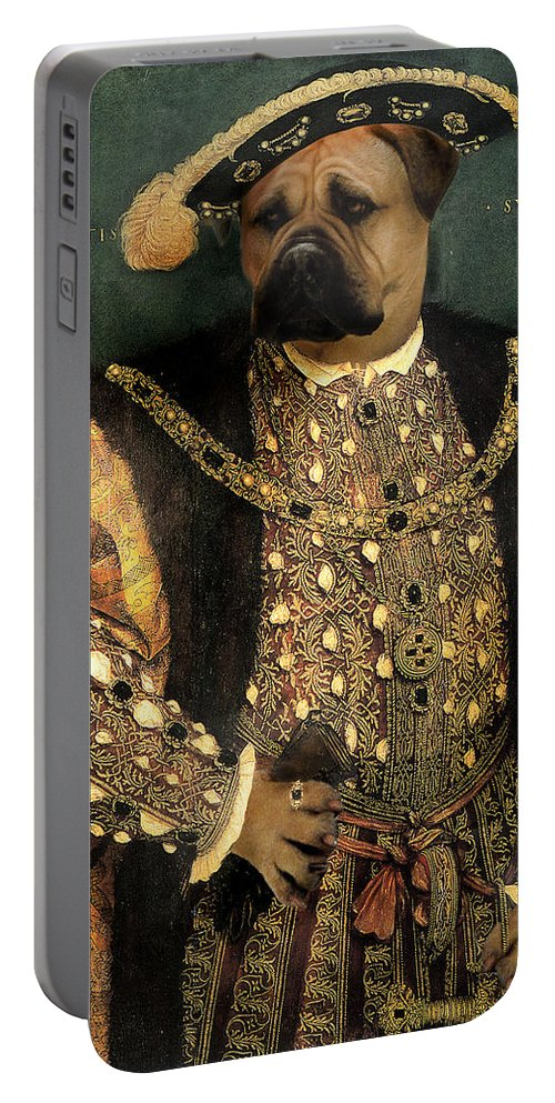 Mastiff Portable Battery Charger featuring the digital art Henry VIII as a Mastiff by Galen Hazelhofer