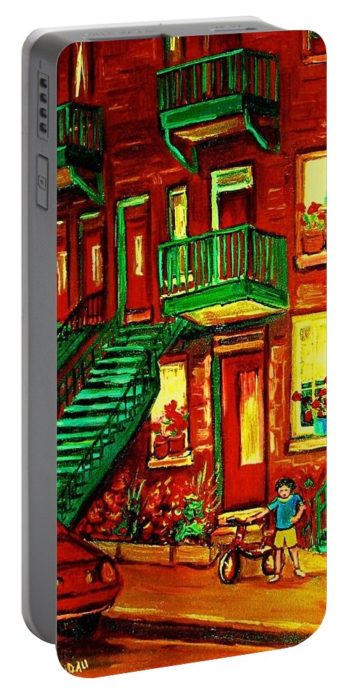 Little Girls Portable Battery Charger featuring the painting Her Brand New Bike by Carole Spandau