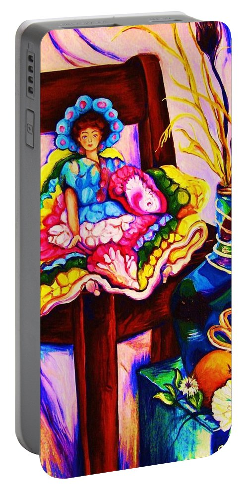 Collectables.antique Dolls Portable Battery Charger featuring the painting Her Little Parasol by Carole Spandau