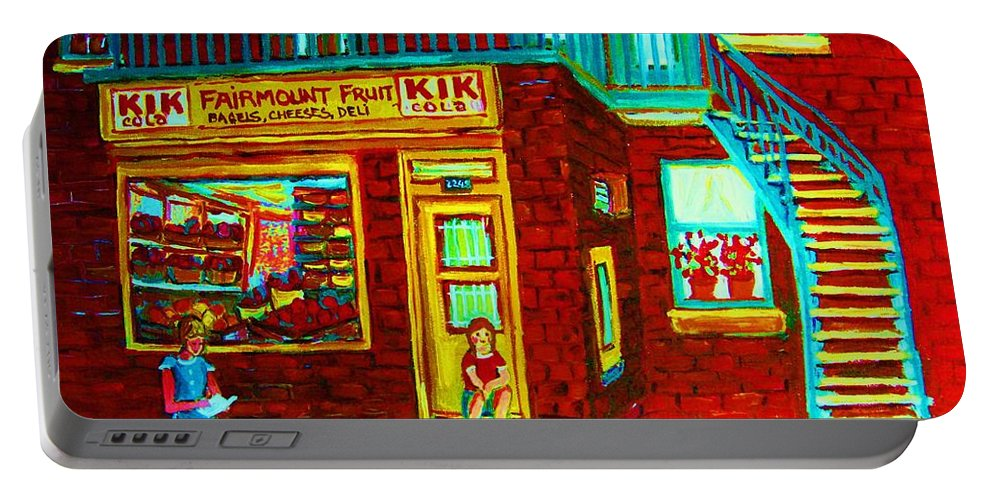 Fmontreal Portable Battery Charger featuring the painting Her Shopping List by Carole Spandau