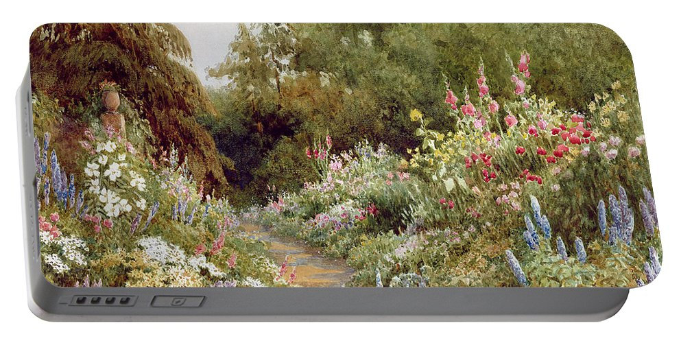 Herbaceous Portable Battery Charger featuring the painting Herbaceous Border by Evelyn L Engleheart