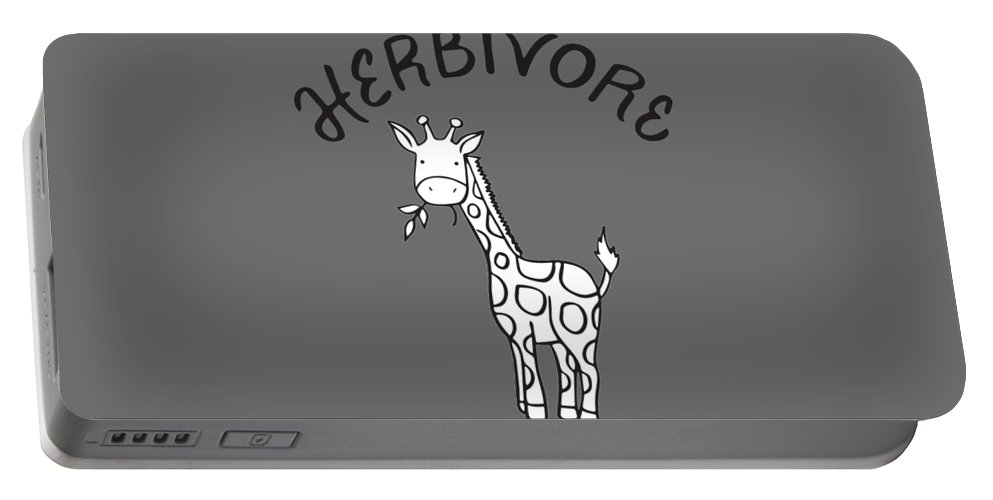 Vegan Portable Battery Charger featuring the drawing Herbivore by Raise Vegan