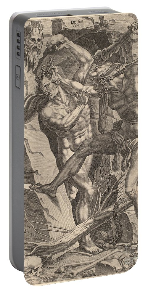 Portable Battery Charger featuring the drawing Hercules Killing Cacus by Dirck Volckertz Coornhert