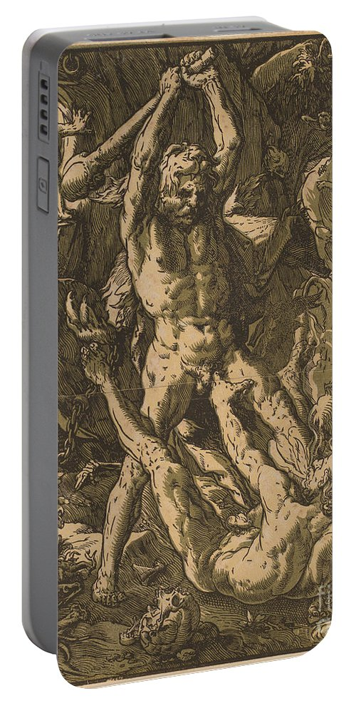 Portable Battery Charger featuring the drawing Hercules Killing Cacus by Hendrik Goltzius