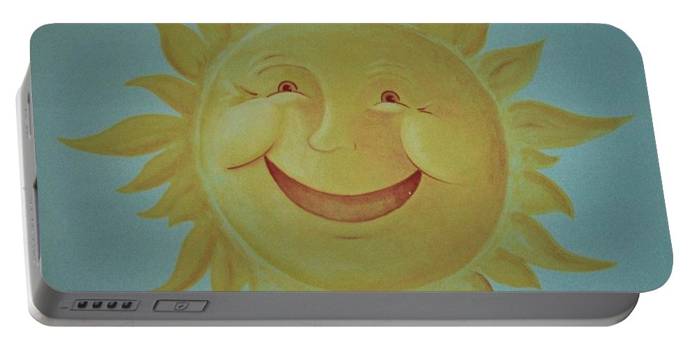 Sun Portable Battery Charger featuring the painting Here Comes The Sun by Suzn Art Memorial