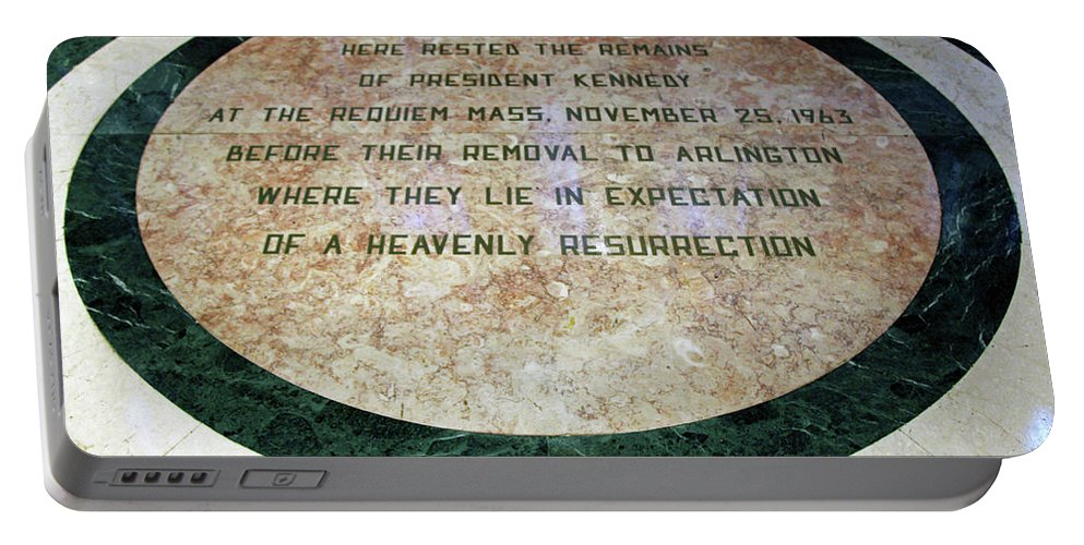 Saint Portable Battery Charger featuring the photograph Here Rested The Remains Of President Kennedy by Cora Wandel
