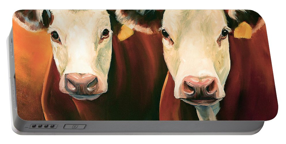 Cows Portable Battery Charger featuring the painting Herefords by Toni Grote