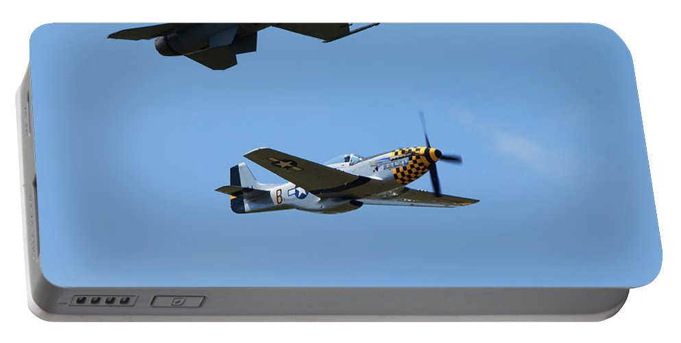 P-51 Mustang Portable Battery Charger featuring the photograph Heritage Flight, P-51 Mustang And F-16 Fighting Falcon by Bruce Beck