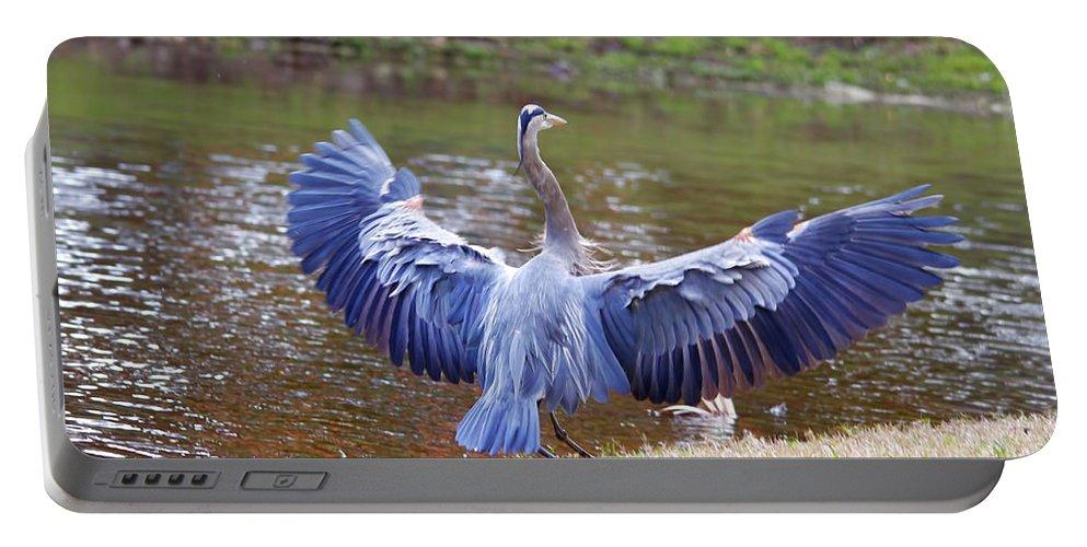 Blue Heron Portable Battery Charger featuring the photograph Heron Bank Landing by Deborah Benoit