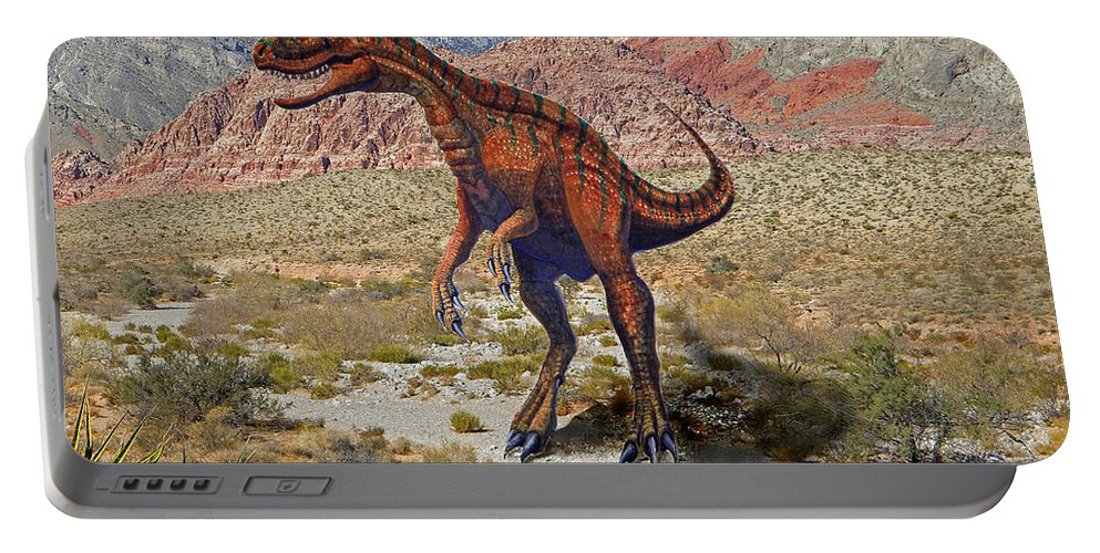 Dinosaur Art Portable Battery Charger featuring the mixed media Herrarsaurus In Desert by Frank Wilson