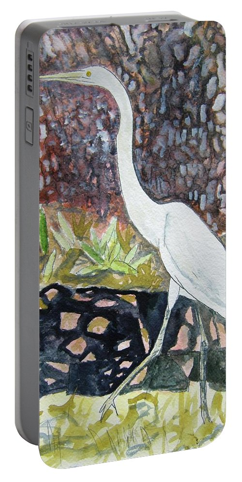 Bird Portable Battery Charger featuring the painting Herron by Derek Mccrea